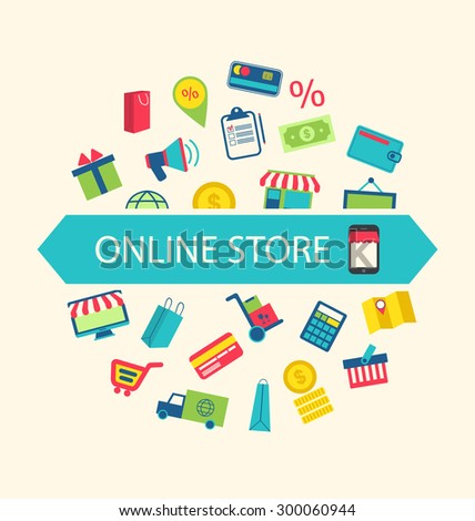 Illustration E-commerce Shopping Symbols, Online Shop Elements and Commerce Item - Vector - stock vector