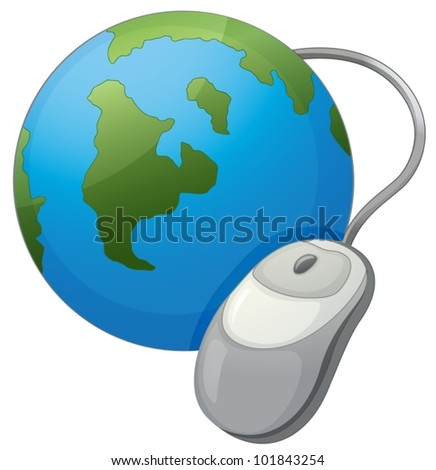 Illustration  Earth and mouse internet icon - stock vector