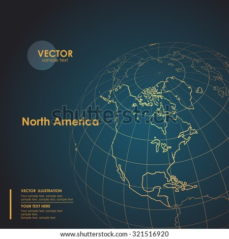 Illustration Earth map of North America. Modern business line vector background - stock vector