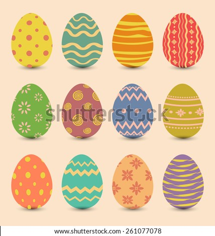 Illustration Easter set old ornamental eggs with shadows - vector - stock vector