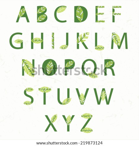 Illustration eco alphabet. Vector - stock vector