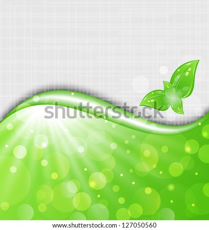 Illustration eco friendly background with leaves - vector - stock vector