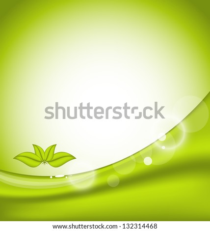 Illustration ecology background with green leaves - vector