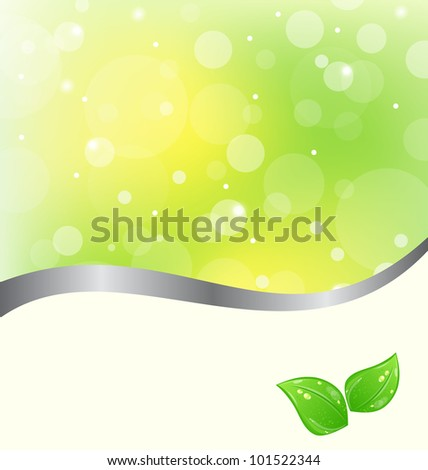 Illustration ecology card with green leaves - vector
