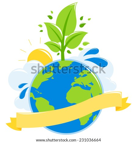 Illustration ecology concept of an earth globe growing a healthy tree, the sun, water and clouds. Blank banner to fill in text.
