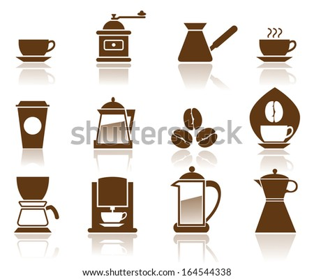 Illustration - Elegant Coffee Icons Set. - stock vector