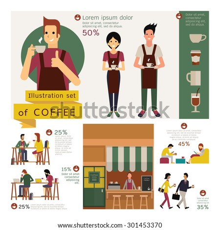 Illustration element of coffee concept in vintage style, exterior store, waiter and waitress, coffee table and chair, various customer. Simple character with flat design.  - stock vector