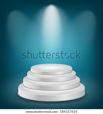 Illustration empty white podium with light - vector - stock vector
