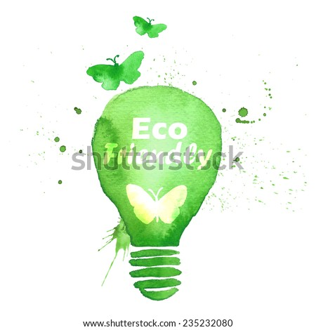 Illustration environmentally friendly concept design.Energy saving eco watercolor vector lamp ,isolated on a white background. Think Green. Ecology Concept - stock vector