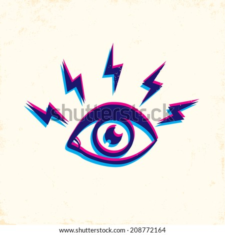 Illustration eyes and lightning - stock vector