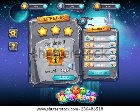 Illustration fabulous space with planets and funny examples of window decoration of the user interface for computer games and web design with buttons, prizes, levels and other elements. Set 2. - stock vector