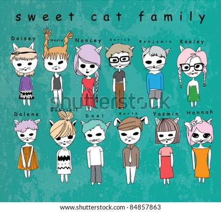 illustration family cats with background