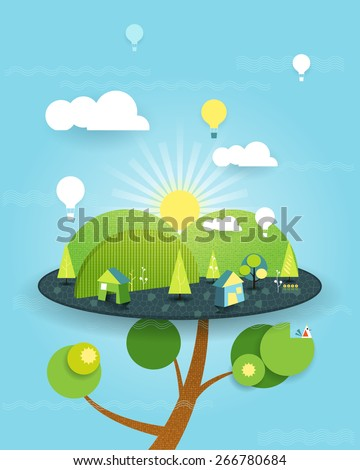 Illustration Fantasy of Tree house on blue sky background. Abstract image paper cut with white cloud,sun,trees,flowers, balloon over the hill. Vector file symbolic fantasy house on peaceful  landscape - stock vector