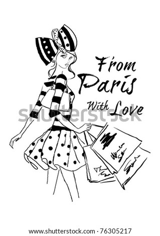 illustration fashion girl shopping - stock vector