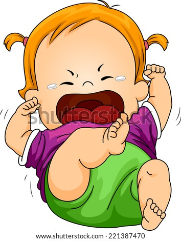 Illustration Featuring a Baby Throwing a Tantrum - stock vector
