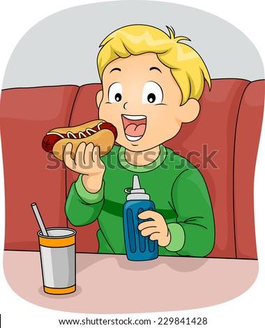 Illustration Featuring a Boy Eating a Hotdog Sandwich - stock vector