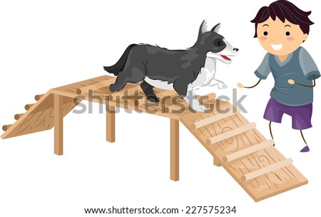 Illustration Featuring a Boy Performing an Agility Test While Its Master Cheers it On - stock vector