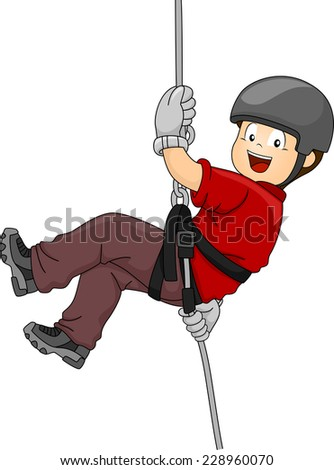 Illustration Featuring a Boy Rappelling Down a Wall - stock vector