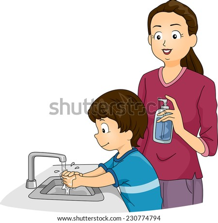 Illustration Featuring a Boy Washing His Hands While His Mother Watches - stock vector