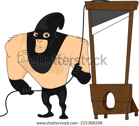 Illustration Featuring a Bulky Executioner - stock vector