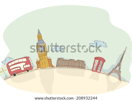 Illustration Featuring a Bus Traveling from London to Paris - stock vector