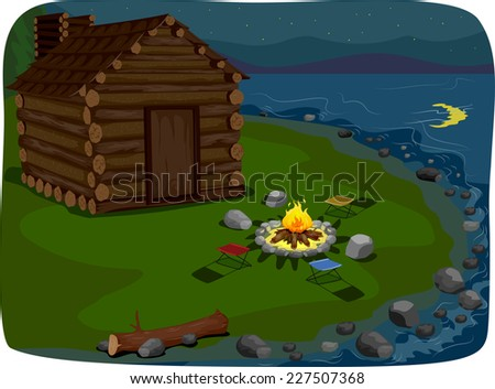 Illustration Featuring a Cabin by the Lake - stock vector