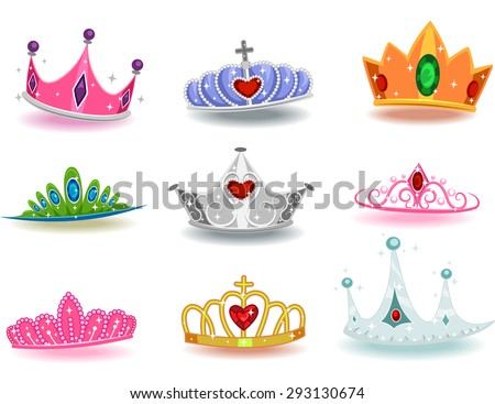 Illustration Featuring a Collection of Crowns with Different Designs - stock vector