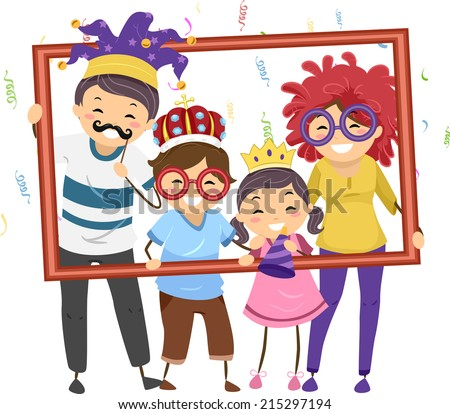 Illustration Featuring a Family in Party Costumes Holding a Hollow Frame - stock vector
