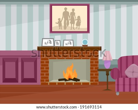 Illustration Featuring a Fireplace in Use - stock vector