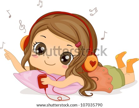 Illustration Featuring a Girl Listening to Music - stock vector