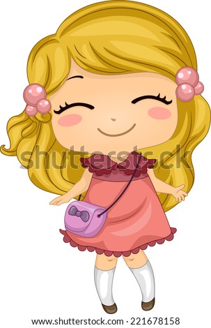 Illustration Featuring a Girl Smiling Widely - stock vector