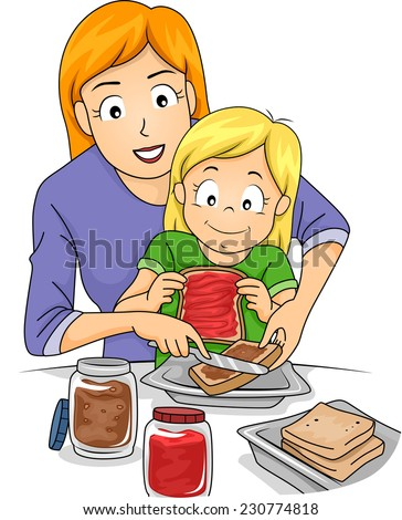 Illustration Featuring a Mother Teaching Her Daughter How to Make Sandwiches - stock vector