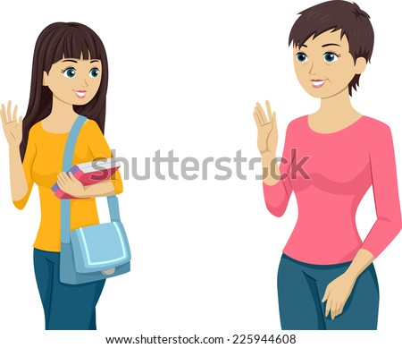 Illustration Featuring a Teenaged Girl Waving Goodbye to Her Mom - stock vector
