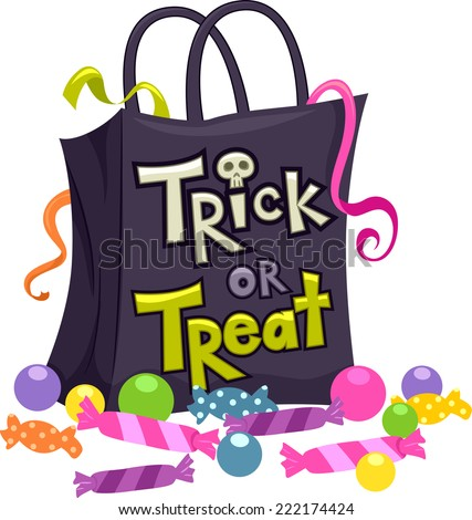 Illustration Featuring a Trick or Treat Bag Surrounded by Candies - stock vector