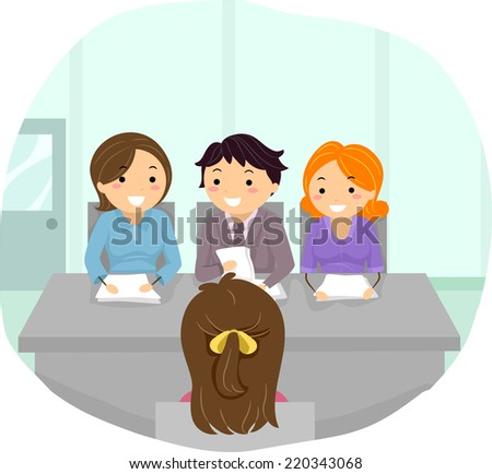 Illustration Featuring a Woman Being Grilled at a Panel Interview - stock vector