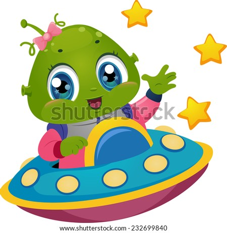 Illustration Featuring an Alien Girl Driving a Spaceship - stock vector