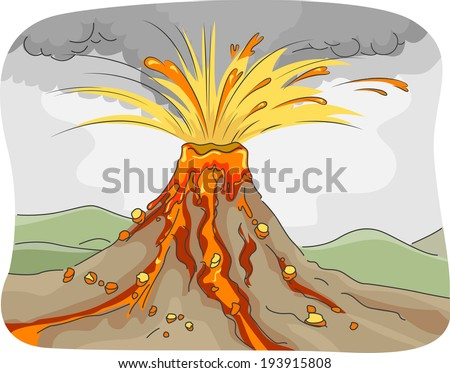 Illustration Featuring an Erupting Volcano Spewing Lava, Ashes, and Rocks - stock vector
