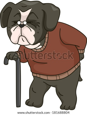 Illustration Featuring an Old Dog Walking Around Supported by a Cane