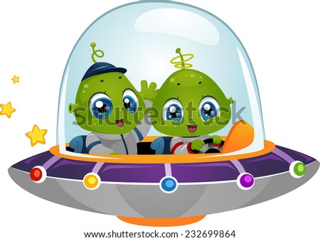 Illustration Featuring Cute Little Aliens Driving a Spaceship - stock vector