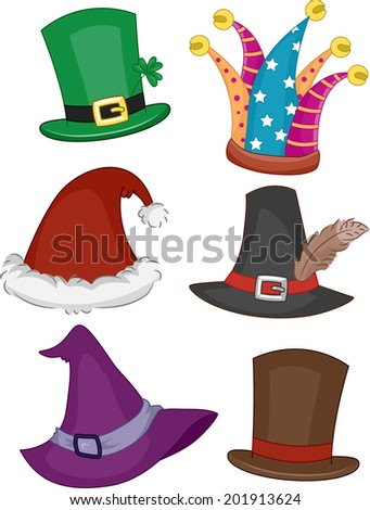 Illustration Featuring Different Party Hats - stock vector