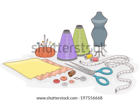 Illustration Featuring Different Sewing Materials