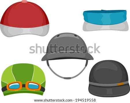 Illustration Featuring Different Types of Caps Worn by Athletes - stock vector