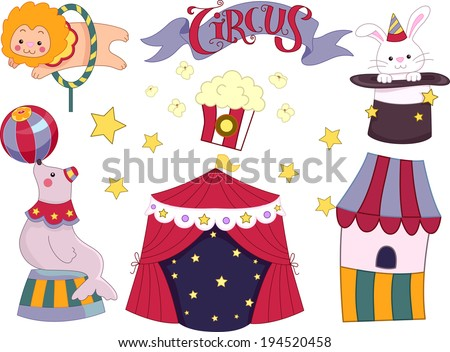 Illustration Featuring Elements Commonly Associated with Circuses - stock vector