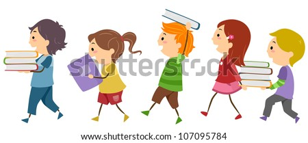 Illustration Featuring Kids Carrying Books - stock vector