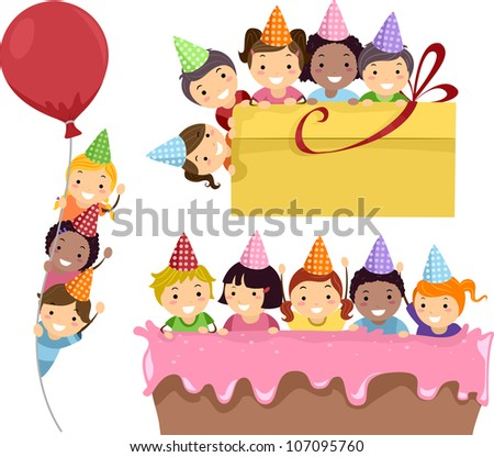 Illustration Featuring Kids Having a Birthday Party on Party Borders - stock vector
