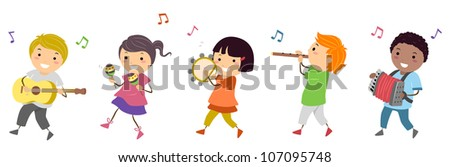 Illustration Featuring Kids in a Music Parade - stock vector