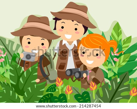 Illustration Featuring Kids on a Safari Adventure - stock vector