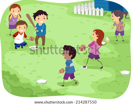 Illustration Featuring Kids Playing Baseball - stock vector