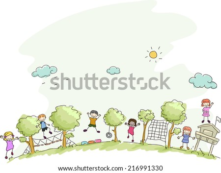 Illustration Featuring Kids Playing in a Summer Camp - stock vector