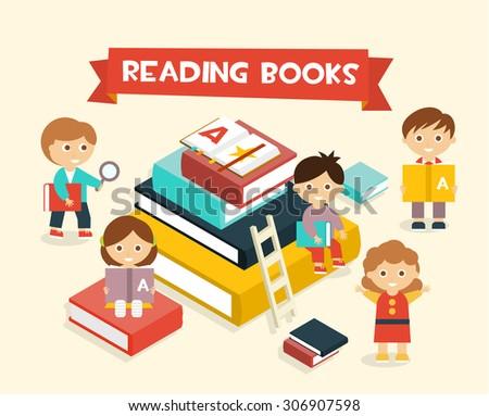 Illustration Featuring Kids Reading Books flat style - stock vector